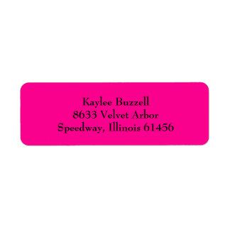 Hot Pink Simple Plain Return Address Labels