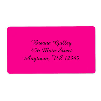 Hot Pink Simple Plain Shipping Labels