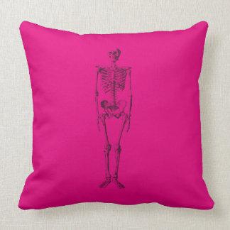 hot pink skeleton pillow