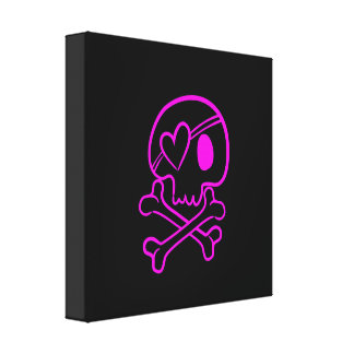 Hot Pink Skull and Crossbones on Black Canvas Print