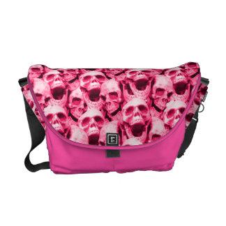 Hot Pink Skulls Courier Bag