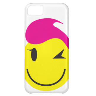 Hot pink smiley SMILE winking with stars Cover For iPhone 5C