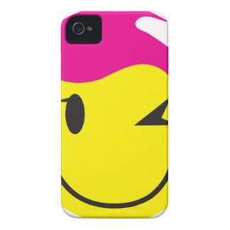 Hot pink smiley SMILE winking with stars iPhone 4 Case-Mate Case