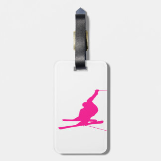 Hot Pink Snow Ski Luggage Tag