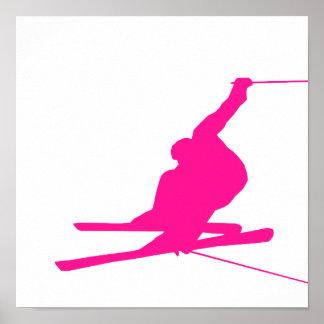 Hot Pink Snow Ski Poster