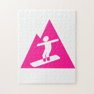 Hot Pink Snowboarding Jigsaw Puzzle
