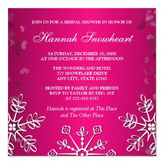 HOT PINK SNOWFLAKE  BRIDAL SHOWER CARD