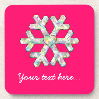 Hot Pink Snowflake Pink Christmas Beverage Coaster