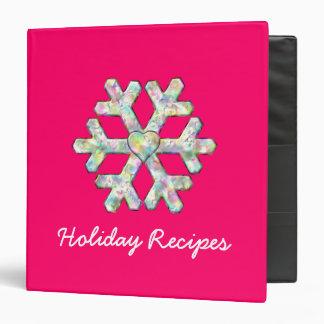 Hot Pink Snowflake Pink Christmas Recipes 3 Ring Binder