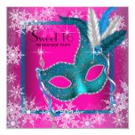 Hot Pink Snowflake Sweet 16 Masquerade Party Personalized Invite