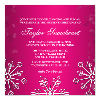 HOT PINK SNOWFLAKE SWEET SIXTEEN BIRTHDAY 5.25X5.25 SQUARE PAPER INVITATION CARD