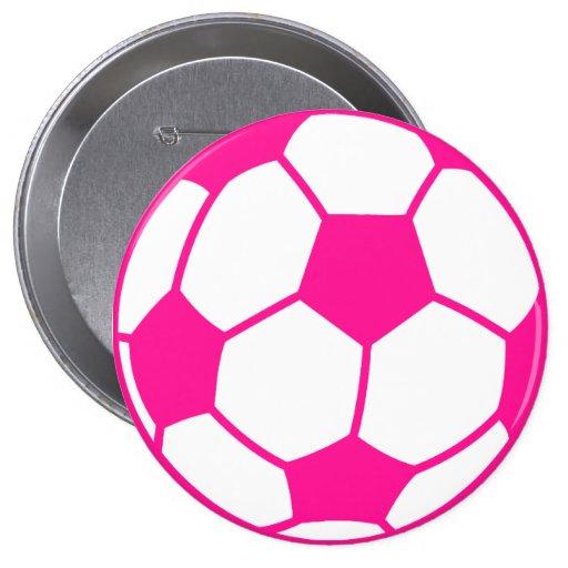 Hot Pink Soccer Ball Pinback Button