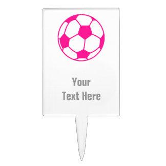 Hot Pink Soccer Ball Cake Topper