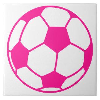 Hot Pink Soccer Ball Ceramic Tile
