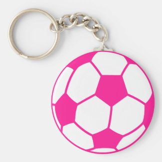 Hot Pink Soccer Ball Keychain