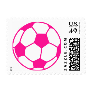 Hot Pink Soccer Ball Postage Stamps