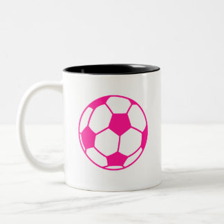 Hot Pink Soccer Ball Two-Tone Coffee Mug
