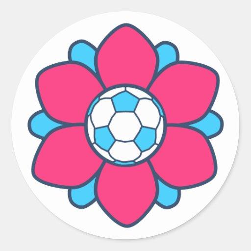 Hot Pink Soccer Girl Round Sticker
