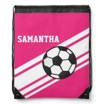 Hot Pink Soccer Stripes Drawstring Backpack