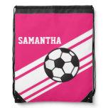 Hot Pink Soccer Stripes Drawstring Backpack Backpack