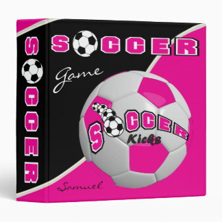 Hot Pink Soccerball Game | Personalize Binder