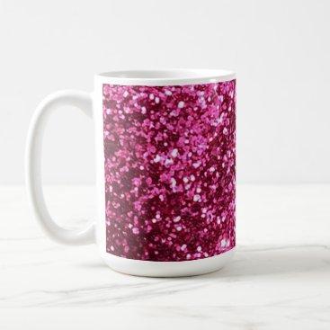 Coffee Themed Hot pink sparkle glitter coffee mug