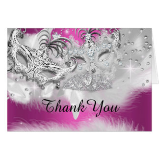 Hot Pink Sparkle Masquerade Thank You Card