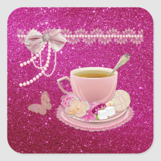Hot Pink Sparkle Tea Party Custom Square Stickers
