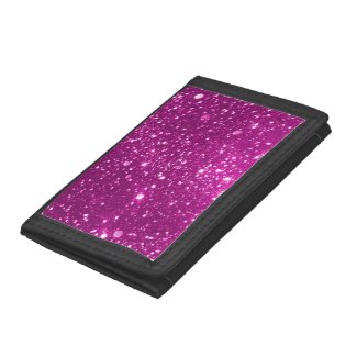Hot Pink Sparkle TriFold Nylon Wallet