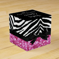 Hot Pink Sparkle Zebra Girl Baby Shower Custom Favor Box