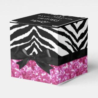Hot Pink Sparkle Zebra Girl Baby Shower Custom Party Favor Boxes