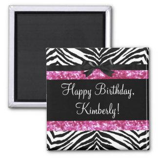 Hot Pink Sparkle Zebra Girly Girl's 2 Inch Square Magnet