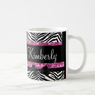 Hot Pink Sparkle Zebra Girly Girl's Classic White Coffee Mug
