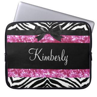 Hot Pink Sparkle Zebra Girly Girl's Computer Sleeve