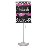 Hot Pink Sparkle Zebra Girly Girl's Desk Lamp