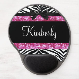 Hot Pink Sparkle Zebra Girly Girl's Gel Mouse Pad