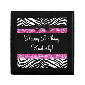 Hot Pink Sparkle Zebra Girly Girl's Keepsake Box