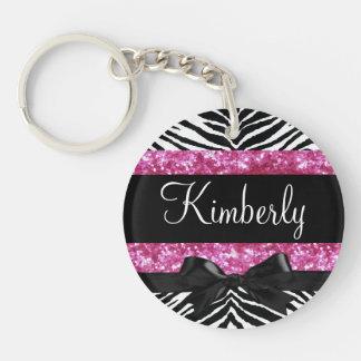 Hot Pink Sparkle Zebra Girly Girl's Keychain