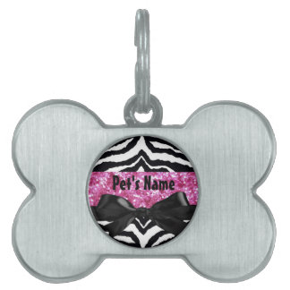 Hot Pink Sparkle Zebra Girly Girl's Pet ID Tag