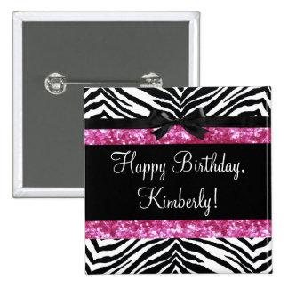 Hot Pink Sparkle Zebra Girly Girl's Pinback Button