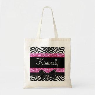 Hot Pink Sparkle Zebra Girly Girl's Tote Bag