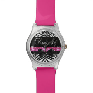 Hot Pink Sparkle Zebra Girly Girl's Watch