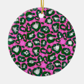 Hot Pink Spearmint Cheetah Abstract Ceramic Ornament