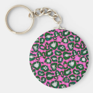 Hot Pink Spearmint Cheetah Abstract Keychain