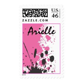 Hot Pink Splatter Paint Bat Mitzvah Stamp stamp