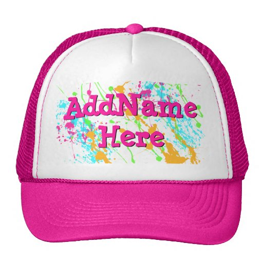 Hot Pink Splatter Personalized Hat