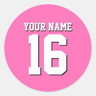 Hot Pink Sporty Team Jersey Classic Round Sticker