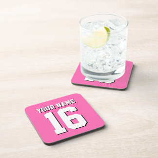 Hot Pink Sporty Team Jersey Drink Coaster