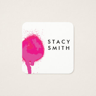 Hot Pink Spray Square Business Card