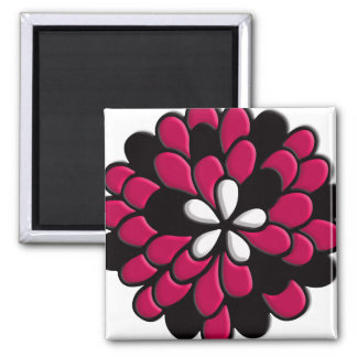 Hot Pink Stained Glass Flower Fridge Magnets